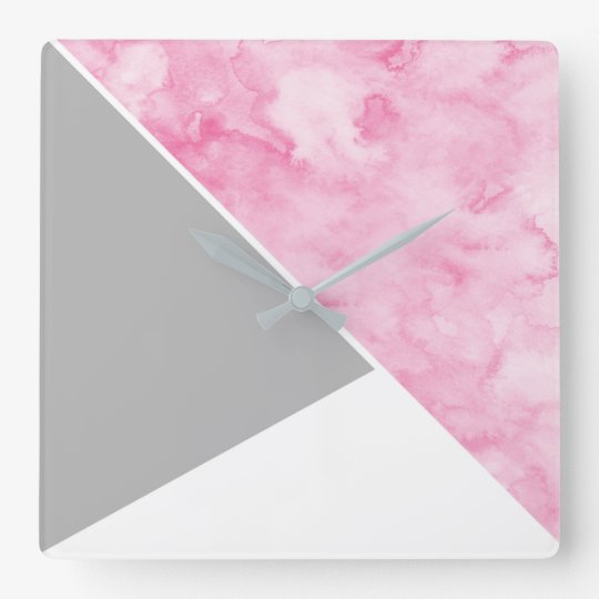 Pink Grey White Modern Square Wall Clock