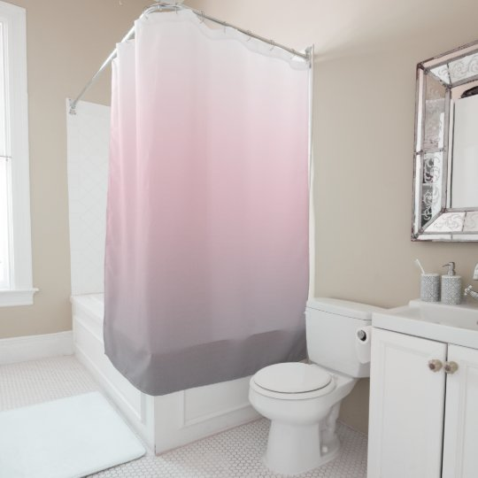 Pink Grey White Ombre Shower Curtain