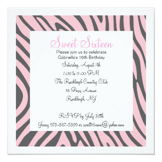 Pink & Grey Zebra Girls Sixteenth Birthday Invite