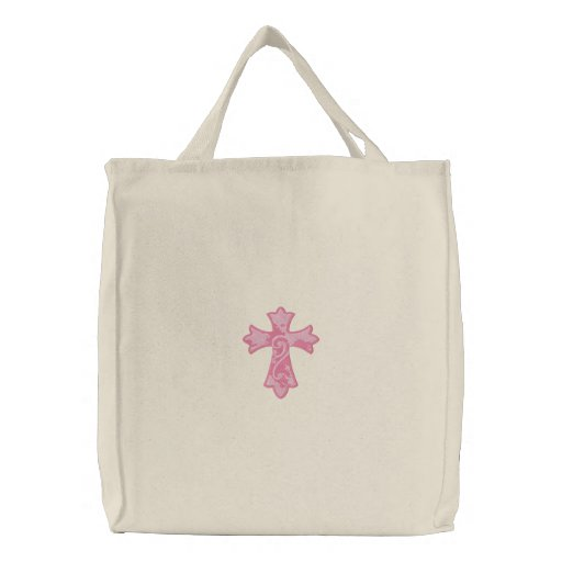 Pink Grunge Cross Embroidered Tote Bag