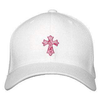 Pink Grunge Cross Embroidered Baseball Cap