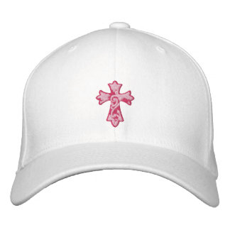 Pink Grunge Cross Embroidered Hat
