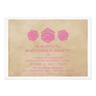 Pink Grunge D20 Dice Gamer Birthday Party Invite