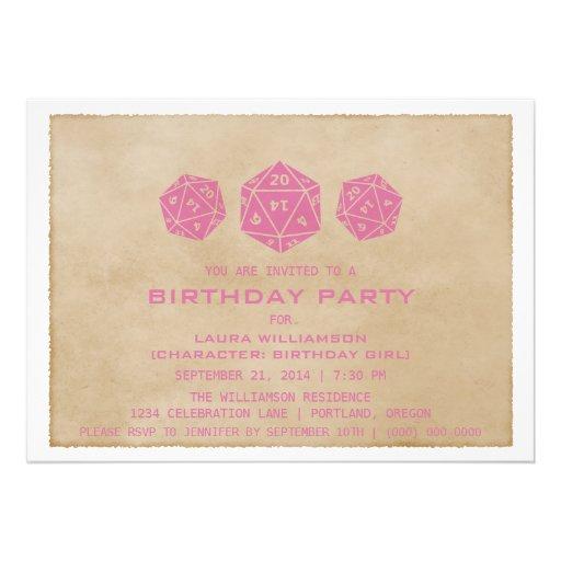 Pink Grunge D20 Dice Gamer Birthday Party Invite