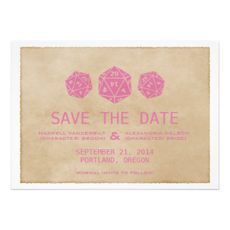 Pink Grunge D20 Dice Gamer Save the Date Invite