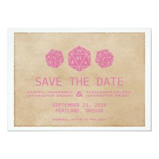"Pink Grunge D20 Dice Gamer Save the Date Invite 5"" X 7"" Invitation Card"