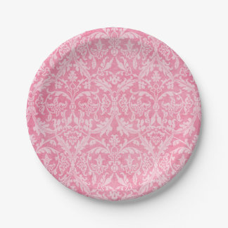 Pink Grunge Damask Wedding Collection Z01 Paper Plate
