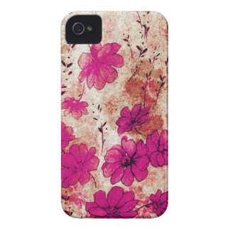 Pink Grunge Floral Blackberry Bold iPhone 4 Case-Mate Cases