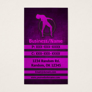 Pink grunge gymnast custom business cards