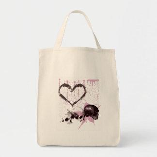 Pink Grunge Heart Skulls Tote Bag