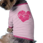 Pink grunge love heart dog t-shirt