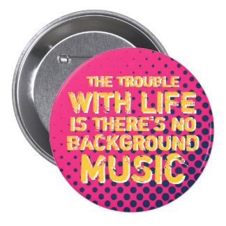 Pink Grunge Retro Halftone I Love Music Button