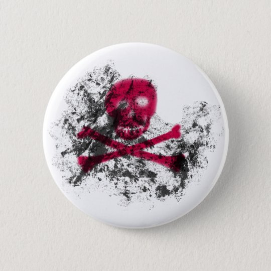 Pink Grunge Skull Button