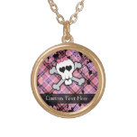 Pink Grunge Skull w/ Crossbones Hearts Personalized Necklace