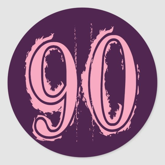 Pink Grunge Style Number 90 Classic Round Sticker