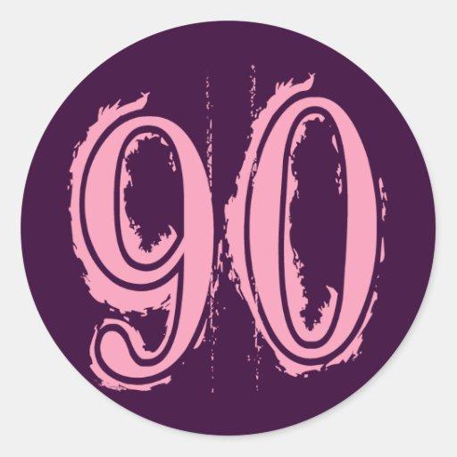 Pink Grunge Style Number 90 Round Sticker