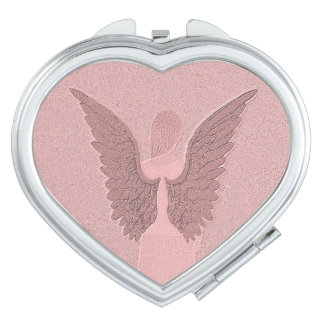 Pink Guardian Angel Travel Mirror