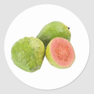 Pink guava fruit round sticker