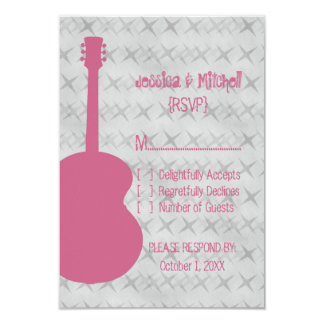 "Pink Guitar Grunge Response Card 3.5"" X 5"" Invitation Card"