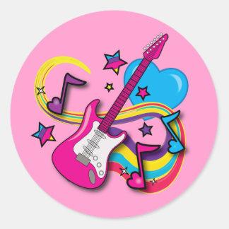 Pink Guitar with Love-Notes Round Sticker