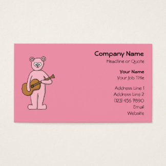 Pink Guitarist Bear Cartoon. Business Card
