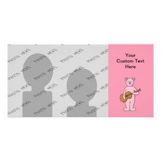 Pink Guitarist Bear Cartoon. Card