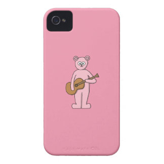 Pink Guitarist Bear Cartoon. iPhone 4 Case-Mate Case