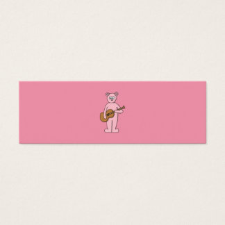 Pink Guitarist Bear Cartoon. Mini Business Card