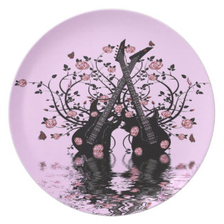 Pink Guitars And Roses Melamine Plate