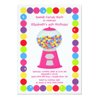 Pink Gumballs Candy Bash Birthday Party Invitation