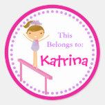 Pink Gymnastics Back to School Sticker