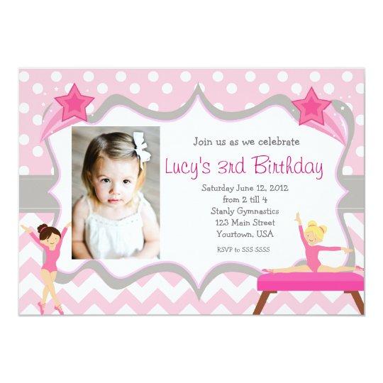 Pink Gymnastics Party Birthday Invitation