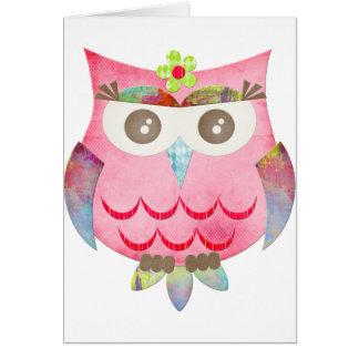 Pink Gypsy Owl Card