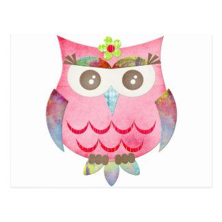 Pink Gypsy Owl Postcard