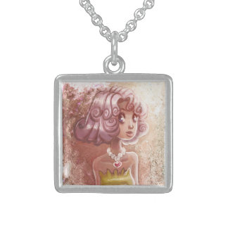 Pink Hair Heart Necklace Girl Pendants