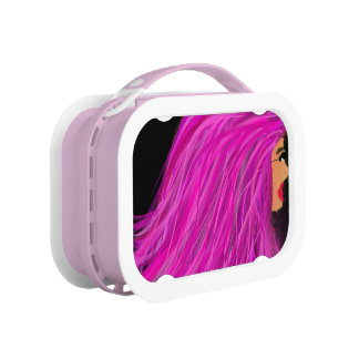 Pink hair lady lunchbox