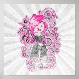 pink hair punk emo girl vector art poster