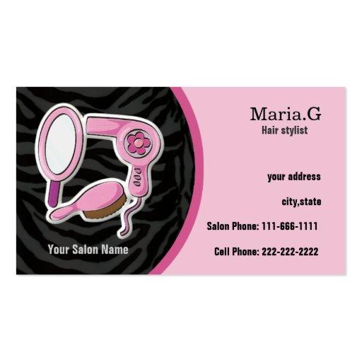 Pink hair salon businesscards business card template zazzle for Hair salon business card template