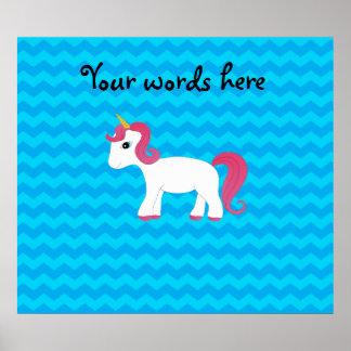 Pink hair unicorn blue chevrons print