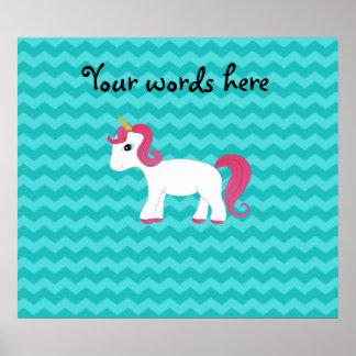 Pink hair unicorn turquoise chevrons print