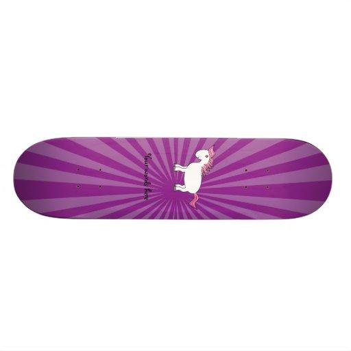 Pink hair white horse with purple sunburst custom skate board
