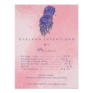 Makeup price lists art wall dcor zazzle pink hairdresser makeup eyes lashes price list poster publicscrutiny Choice Image