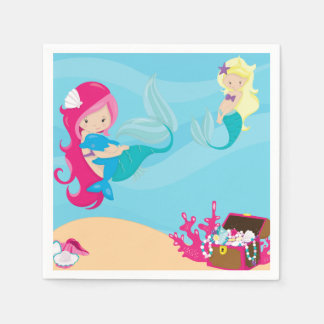 Pink Haired Mermaid With Porpoise Paper Serviettes