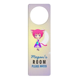 Pink Haired Neko Anime Girl, Door Hanger