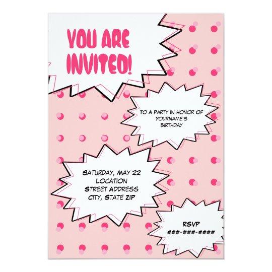 Pink Halftone Pop Art Comic Inspired Birthday Card