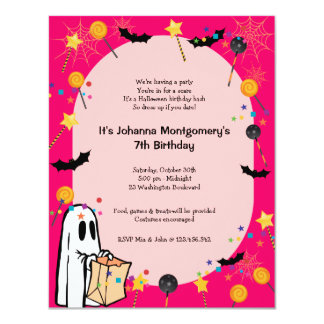 Pink Halloween Birthday Costume Party Invitation