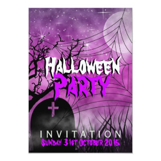 Pink Halloween Moon+Spider Web Invitation
