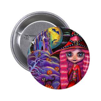 Pink Halloween Wich Button