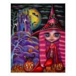 Pink Halloween Witch Poster