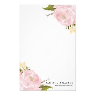 Pink Hand Drawn Watercolor Peonies Stationary Stationery Design